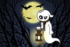 Cartoon ghost, forest, full moon and bats Royalty Free Stock Photos