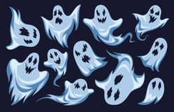 Free Cartoon Ghost. Halloween Night Holiday Characters. Creepy Funny Frightening Spooky Boo Phantoms, Monsters Vector Set Royalty Free Stock Photos - 158632418