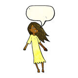 Cartoon ghost like girl with speech bubble Royalty Free Stock Image