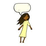 Cartoon ghost like girl with speech bubble Royalty Free Stock Photos