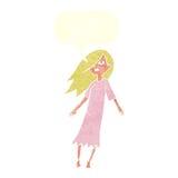 Cartoon ghost like girl with speech bubble Stock Photo