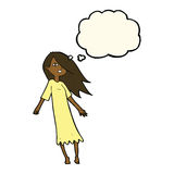 Cartoon ghost like girl with thought bubble Stock Images