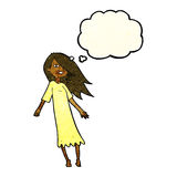 Cartoon ghost like girl with thought bubble Royalty Free Stock Photo