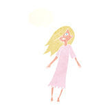 Cartoon ghost like girl with thought bubble Royalty Free Stock Image