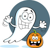 Cartoon ghost with a pumpkin Royalty Free Stock Photography