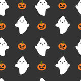 Cartoon ghost and pumpkin seamless halloween pattern background illustration Stock Photography