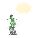 Cartoon ghost rising from grave Royalty Free Stock Photography