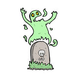 Cartoon ghost rising from grave Stock Image