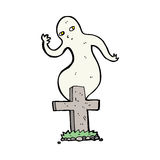 Cartoon ghost rising from grave Royalty Free Stock Photo