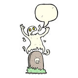 Cartoon ghost rising from grave with speech bubble Stock Photography