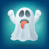 Cartoon ghost with tongue on blue background. Halloween party design element Stock Image