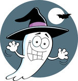 Cartoon ghost wearing a witch's hat Stock Photo