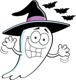 Cartoon Ghost Wearing a Witchs Hat Royalty Free Stock Photo