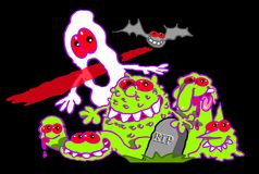Cartoon ghosts and goblins. Cartoon caricature of ghosts and goblins in cemetery with bat on black Stock Photo
