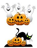 Cartoon Ghosts Jack-O-Lanterns Royalty Free Stock Image