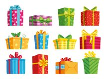 Free Cartoon Gift Box. Christmas Presents, Gifting Boxes And Present Winter Holidays Gifts. Secret Boxing With Surprises Stock Photography - 126290662
