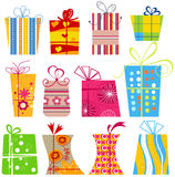 Cartoon gift boxes Stock Images