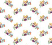Cartoon gift boxes pattern Royalty Free Stock Photos