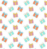 Cartoon gift boxes pattern Royalty Free Stock Images