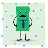 Cartoon gift. A human cartoon gift. A christmas pack with eyes, mustache, legs, hands and standing on a dots green background Royalty Free Stock Image