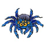 Cartoon gigantic spider. Halloween character. Hand drawn vector illustration. royalty free illustration