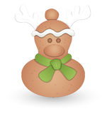 Cartoon Gingerbread - Christmas Vector Illustration. Drawing Art of Cartoon Christmas Reindeer Character Vector Illustration Stock Photo