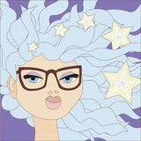 Cartoon gir. Illustration of cartoon girl with blue hair wearing big glasses. No mesh and transparency used. Objects grouped and named in English Stock Photography