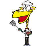 Cartoon giraffe chef with steak dinner Stock Images