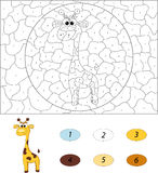 Cartoon giraffe. Color by number educational game for kids Royalty Free Stock Images