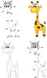 Cartoon giraffe. Coloring book and dot to dot game for kids Stock Images