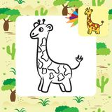 Cartoon giraffe. Coloring page Royalty Free Stock Images