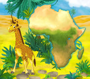 Cartoon giraffe with continent map Stock Images