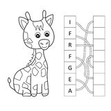 Cartoon giraffe crossword. Put the letters in the correct order vector illustration