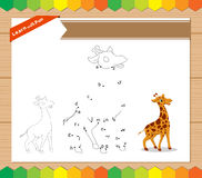 Cartoon Giraffe. Dot to dot educational game for kids. worksheet for letter alphabet Stock Photos