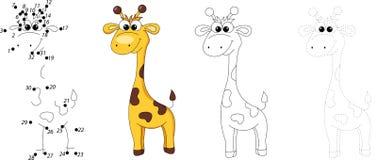Cartoon Giraffe. Dot To Dot Game For Kids