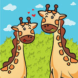 Cartoon of giraffe eating grass Stock Image
