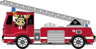 Cartoon Giraffe Fireman and Fire Truck. An EPS file is also available.Cartoon Giraffe Royalty Free Stock Photos