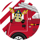 Cartoon Giraffe Fireman and Fire Truck. An EPS file is also available.Cartoon Giraffe Royalty Free Stock Images