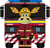 Cartoon Giraffe Fireman and Fire Truck. An EPS file is also available.Cartoon Giraffe Royalty Free Stock Image