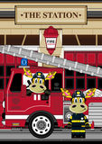 Cartoon Giraffe Fireman and Fire Truck. An EPS file is also available.Cartoon Giraffe Royalty Free Stock Photo