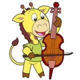 cartoon giraffe playing a cello Stock Images