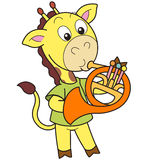 Cartoon Giraffe Playing a French Horn Royalty Free Stock Images