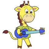 Cartoon Giraffe Playing a Guitar Stock Photos