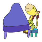 Cartoon giraffe playing a piano Royalty Free Stock Image
