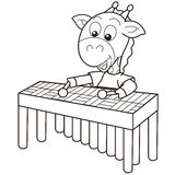 Cartoon Giraffe Playing a Vibraphone Stock Photography