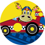 Cartoon Giraffe in Racing Car. An EPS file is also available Stock Photo