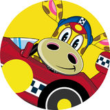 Cartoon Giraffe in Racing Car. An EPS file is also available Stock Images