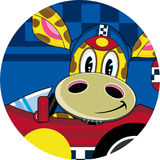 Cartoon Giraffe in Racing Car. An EPS file is also available Royalty Free Stock Images