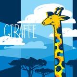 Cartoon Giraffe in Savanna. Cute giraffe on abstract savanna background Royalty Free Stock Photos