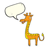 Cartoon giraffe with speech bubble Royalty Free Stock Images